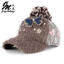 2015 New fashion winter cap diamante Rhinestone warm fur cap Leisure Fake hair baseball cap for women lady girl  W079