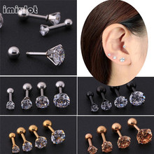 imixlot Women New Silver Gold Star Crystal Cartilage Stud Earring Tragus Helix ear Piercing Top Upper Labret Body Jewelry(China)