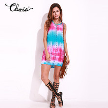 2017 Women Boho Summer Dress Gradient Color Tie Dye Print Sexy Casual Party Dresses Large Round Neck Mini Dress Beach Sundress