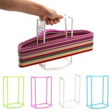 Practical Plastic Clothes Hanger Stacker Holder Storage Organizer Rack Stand Sorting Travel Home Household Tools 4 Colors 1Pcs