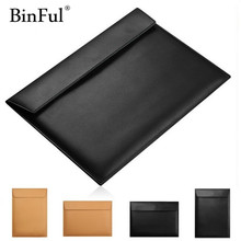 "BinFul Fashion PU Leather Notebook Sleeve Bag Waterproof Protector Case for Macbook 11"" 12"" 13"" 15"" Macbook Air Laptop Carry Bag(China)"