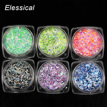 ELESSICAL Solvent Resistance Holographic Nails Glitters Colorful Acrylic Powders Polishing For Nails 3D Nails Art Dust WY93-WY98(China)