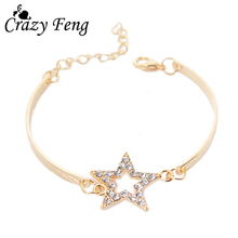 New Simple Fashion Five-pointed Star Bracelets Pulseras Gold-color Adjustable Bracelet Bangle For Women Wholesale Jewelry