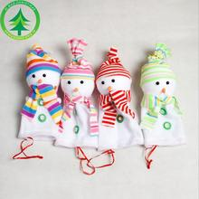 4Pcs Colorful Snow Man Doll Christmas Apple Package Bag Decoration Best Children Gifts