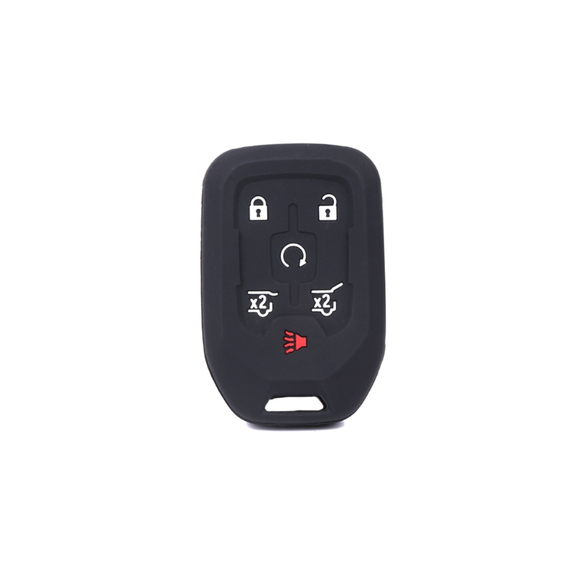 2pc Black 6 Buttons Rubber Keyless Remote Key Case Skin Covers for GMC Cadillac