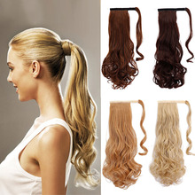 20inch Long Curly Wavy Ponytail natural Clip In Pony Tail Hair Extensions Wrap On Hair Piece Fake Hair ponytails hair pieces