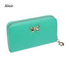 Women's Purse Fashion KoreanStyle Cute Bowknot Faux Leather Purses Wallet Credit Card Holder Zipper Solid Handbag Bag Ladies(China)