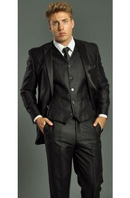 Buy One Button Shiny Black Groom Tuxedos Groomsmen Men's Wedding Prom Suits Custom Made (Jacket+Pants+Vest+Tie) K:259 for $77.40 in AliExpress store
