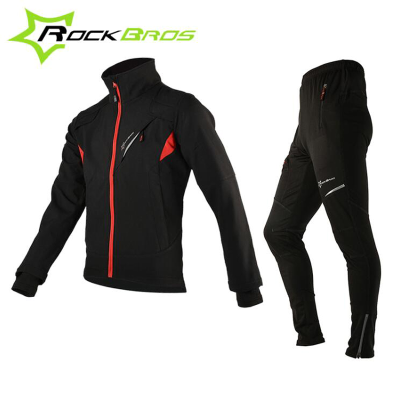 ROCKBROS Fleece Cycling Jersey Men Women Long Sleeve Thermal Windproof Cycling Set Running Riding Bike Outer Wear Set H6018<br>