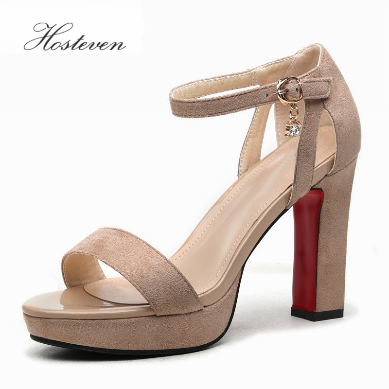 Hosteven Sexy Women High Heel  9cm Shoes Spring Autumn Party Wedding Gladiator T Straps Square Platform Pumps Big Size 34-39<br>