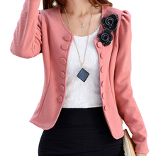 Spring 2017 New Korean Fashion Blazer Feminino Plus Size 3XL Long Sleeved Bleiser Mujer Casual 4 Colors New Lovely Women Suits