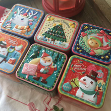 New 6pcs/set 75x75x65mm zakka metal storage jar Sculpture art Christmas style tin box Sundry storage box tin tea caddy(China)