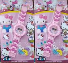 New 10pcs Cartoon Hello Kitty  DIY Buildable Watch With Figure  Building Blocks Compatible  Best Gift  Toy Watch A-204