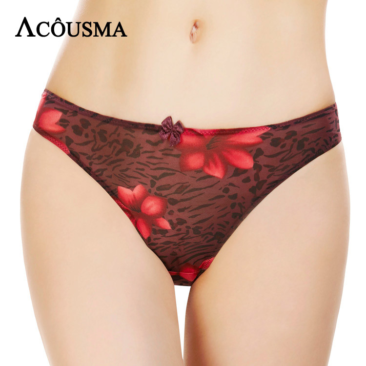 ACOUSMA Women T Back Thongs Floral Embrodiery Sexy Panties G-String Flower Print Bowknot Females Breathable Underwear Seamless