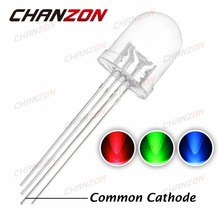 50pcs 10mm LED Diode RGB Common Cathode Transparent Light 20mA 3 Colors Red Green Blue 4 Pin 10 mm Light-Emitting Diode LED Lamp