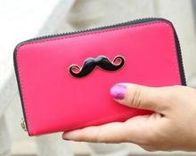 Hot selling 2017 women lady fashion fresh candy color leather zipper slim cute beard designer medium wallet monederos mujer 45