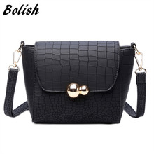 Bolish Vintage Crocodile PU Leather Women Bag Fashion Metal Logo Small Shoulder Bag Casual Messenger Bag