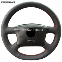 Black Artificial Leather Car Steering Wheel Cover for Volkswagen Passat B5 VW Passat B5 VW Golf 4(China)