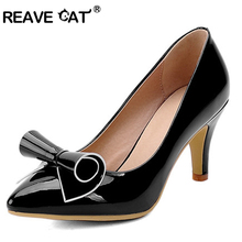 REAVE CAT Sweet Bowtie Patent leather Pointed toe Thin heels Women Pump Large size 34-43 Spring Summer Slip-on White Shoes women
