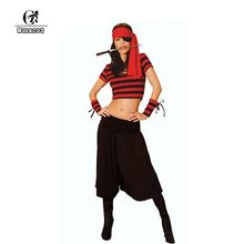 ROLECOS Brand Adult Women Halloween Fantasy Party Costumes Sexy Female Pirate Cosplay Costume Top and Pants(China)
