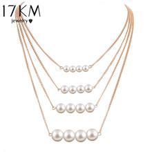 17KM Trendy Multilayer Link Chain Necklace Alloy Gold Color simulated Pearl Necklace Summer Fashion Jewelry Chain Women(China)