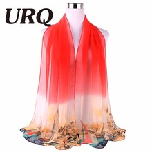 Fashion NEW arrival Sheer Chiffon Scarf Brand URQ Women Ombre colors georgette silk scarves shawl female long Q5A16540(China)