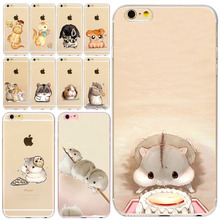 Soft Silicon Cut animals Hamster design Phone Cases For iPhone 4s 5s SE 6 6s 6plus 7 7Plus Cover Mobile Phone Bags fundas coque