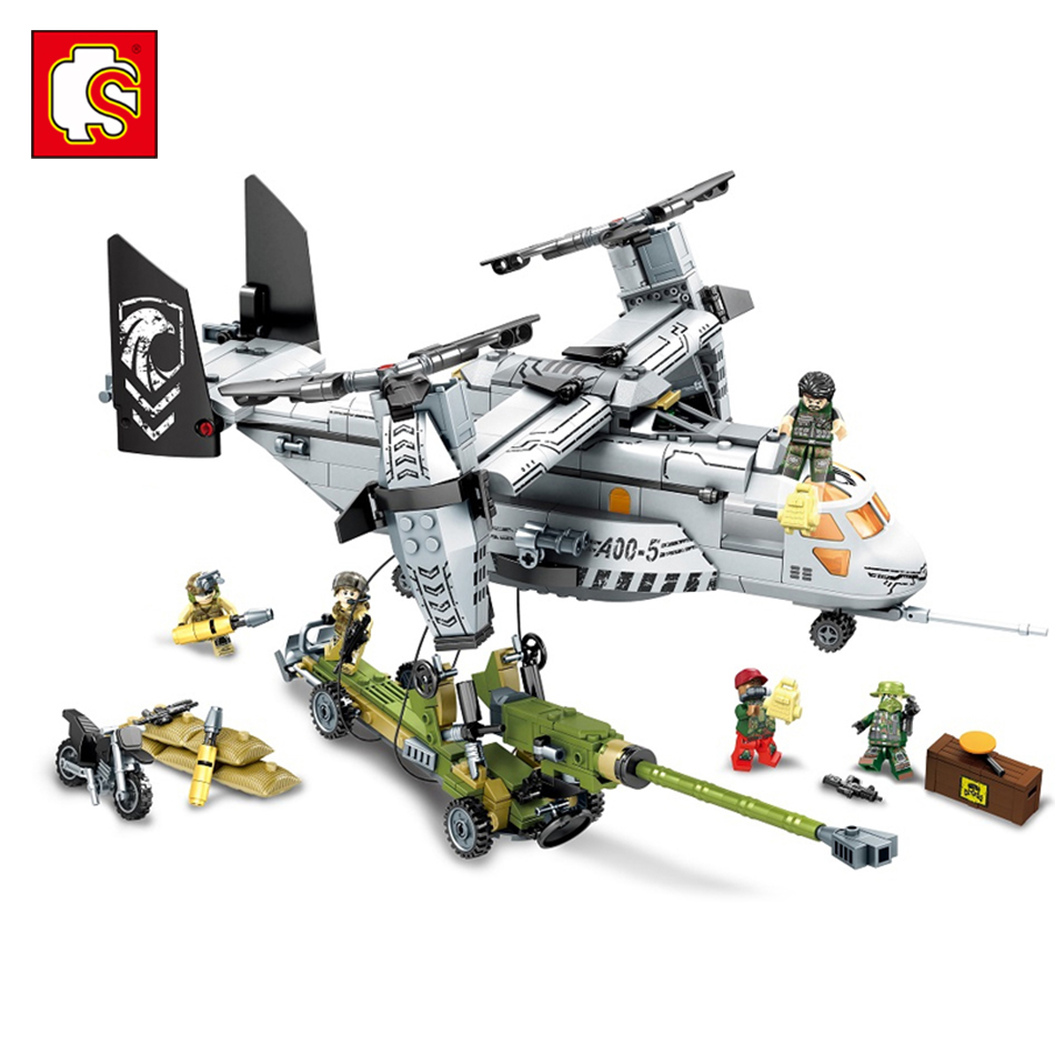 Sembo block  Helicopter artillery Compatible legos wars Military Building blocks kits army soldiers figures bricks toys for kids<br>