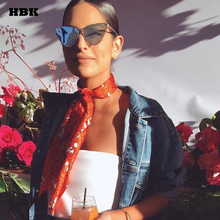 HBK 2018 New Sexy Luxury Cute Cat Eye Mirror Sunglasses Women Style Fashion Metal Frame Pink Black Purple Triangle Ladies Goggle(China)