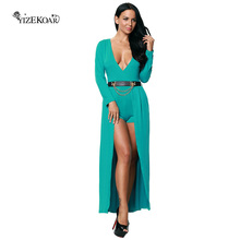 New Fashion 2017 Women Dress Autumn Green Wrap V Neck Belted Long Sleeve Romper Dress Solid Color Casual High Low Dresses(China)