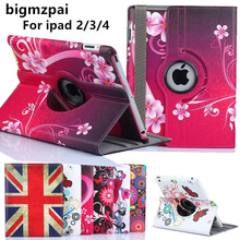"9.7""for ipad 3 2 New Arrive 360 Rotating Flower Butterfly Flip Stand PU Leather Case Cover For Apple ipad 2 3 ipad 4 Tablet Case(China)"