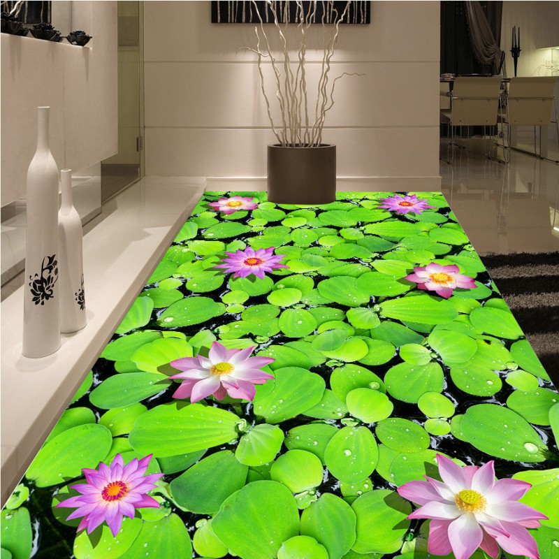 Free Shipping Pond Lotus Chinese wind 3D flooring painting hotel restaurant decoration self-adhesive floor mural<br><br>Aliexpress