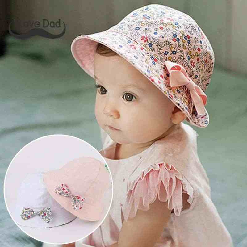 Detail Feedback Questions about Spring Summer Flower Baby Hat Kids Children  Girls Cap Cotton Floral Bowknot Baby Girl Sun Hat Bucket Caps Bonnet on ... bcd54446ca37