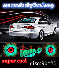 Free shipping 90*25  Lightning  Music Rhythm LED Sheet  Lamp Flash car Sticker Sound Music Activated Equalizer car Stickers