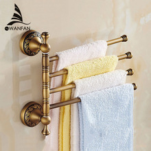 Solid Brass Vintage Style Bathroom Revolve Towel Bar Antique Brass Four Tiers Bath Towel Holder Rack Wall Mounted F91373