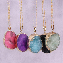 Druzy Microbeauty druzy stone pendant necklace vintage gold-color raw crystal green necklace for women jewelry