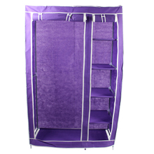 Best Foldable Double Canvas Wardrobe Clothes Rail Hanging Storage Cupboard Shelves - Purple(China)