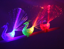 10Pcs Peacock Finger Light Colorful LED Light-up Rings Party Gadgets Kids Intelligent Toy for Brain Development-Color Random