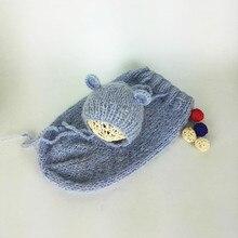 Newborn Baby Sleeping Bags Set Bear Hat Crochet Knitting Sack Suits Infant