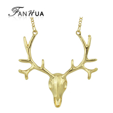 FANHUA New Maxi Necklace Long Chain Gold-Color and Antique Silver Color Deer Head Pendant boho Necklace For Women collier femme
