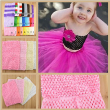 Retail New 20cmX23cm Girl 9inch Crochet Tutu Tube Tops Chest Wrap Wide Crochet headbands Christmas gift drop shipping