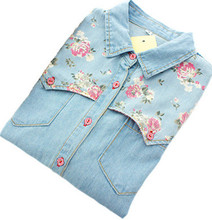 Women Denim Shirt Chemise Jean's Femme Floral Jeans Blouse Long Sleeve Plus Size Blusa Casual Tops Camisa Vetements(China)