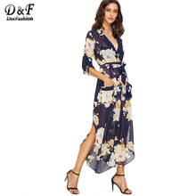 Dotfashion Bohemian Dress Vintage Long Dress Sexy Beach Dresses 2017 Navy Floral Print Self Tie Wrap High Quality Chiffon Dress