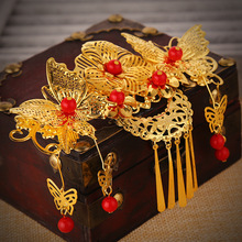 The bride headdress Red ancient costume tassel hair comb Chinese style wedding hair dress cheongsam accessories(China)