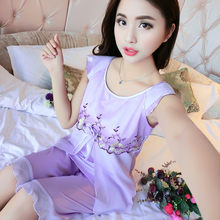 ad1148a61 Jovem Sexy conjunto das mulheres roupa em casa de manga curta pijama de  seda terno verão