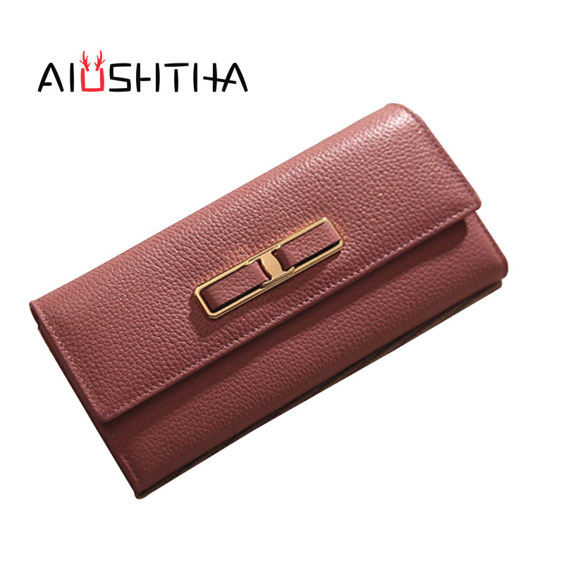 women wallets genuine leather long wallet phone bag case clutch female coin purse ladies cartrira feminina portefeuille femme <br>