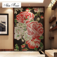 Mosaic Murals Red Backsplash Flower Tile Wall Deco Art Mosaic Big Flower Peony Blossom Customize Handcraft Living Room Deco(China)