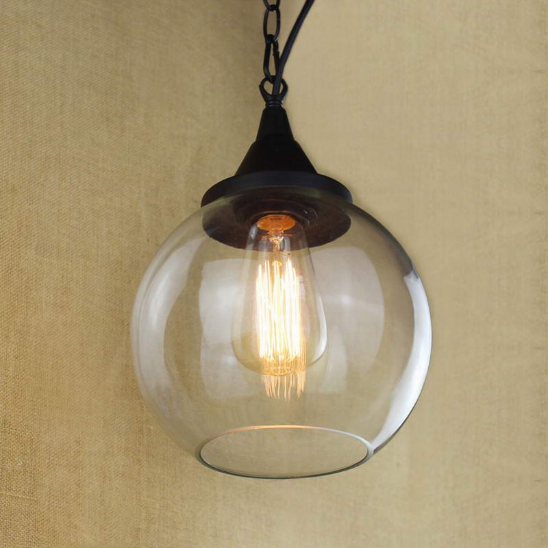 Nostalgic retro Hanging clear glass cup Pendant Lamp with Edison Light bulb|Kitchen Lights and Cabinet Lights<br>