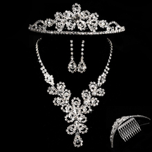 New Fashion Crystal Bridal Jewelry Sets Noble Rhinestone Silver Necklace for Ladies Wedding Jewelry Sets Accessories Gifts