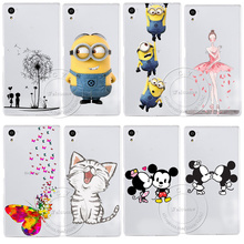 Super Cute Minions Cat Mickey & Minnie Kiss Hard Plastic Case Cover For Sony Xperia Z1 Z2 Z3 Z3+ Z4 Z5 L39H L50W